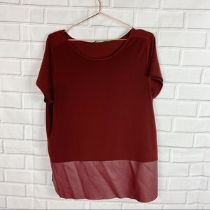 The Limited mixed fabric burgundy blouse top L